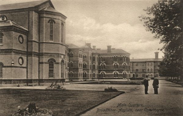 Exterior of blocks housing male patients at Broadmoor Asylum, Berkshire. The institution opened in 1863 as the Broadmoor Criminal Lunatic Asylum. Date: Date unknown