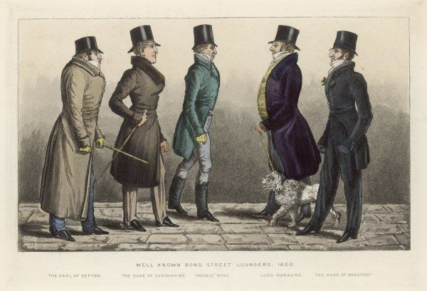 Dandies and bucks of Bond Street, London: Earl of Sefton, Duke of Devonshire, 'Poodle' Byng, Lord Manners and Duke of Beaufort
