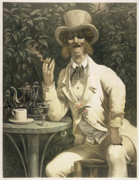 'Un Anglais a mabille' A gentleman taking coffee, and something a little stronger, in a splendid cream suit