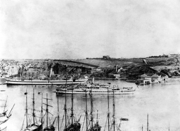 Warships in Valletta harbour during World War One. Date: 1914-1918