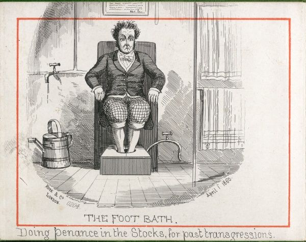 "(3 of 12) Water Cure at Malvern 'The Foot Bath' ""Doing penance in the stocks, for past transgressions&quot"