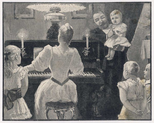 Mama plays the piano, with candles and an oil lamp to read the score by, while papa and the four children listen and enjoy