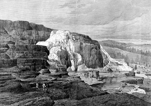 Engraving of the spectacular landscape of volcanic rocks and springs at Mammoth Hot Springs, Yellowstone National Park, with some tiny tourists in the foreground to emphasize the scale, 1874. In March 1872 President Grant declared Yellowstone a National Park