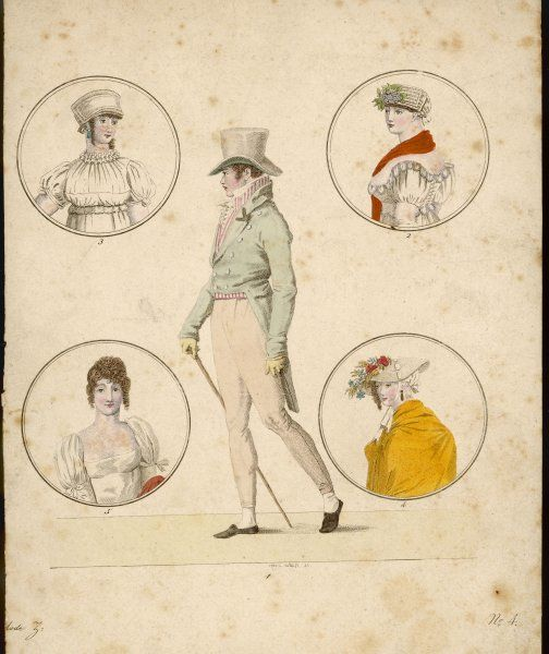 Composite image based on fashion plates. Man: top hat, pantaloons, cut-away coat with 'M-cut' collar, cane & striped waistcoat. Women: white muslin dresses with puffed sleeves