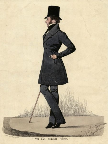Elegantly restrained gentleman all in black: top hat, frock coat, gloves, strapped pantaloons, boots & cravat. The shirt at least is white & his cane - brown! Date: 1820s