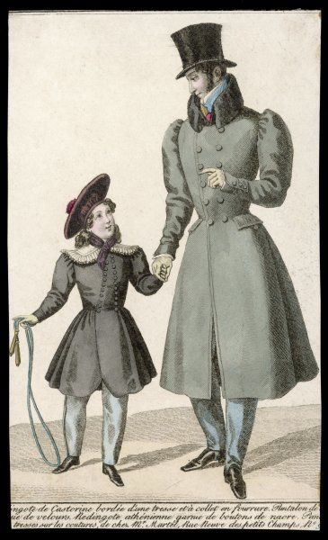 Man: grey D-B overcoat, full skirts, gigot sleeves, hip pockets & beaver fur collar. Boy: quartered cap with pom- pom & 'Athenienne' coat with mother-of-pearl buttons