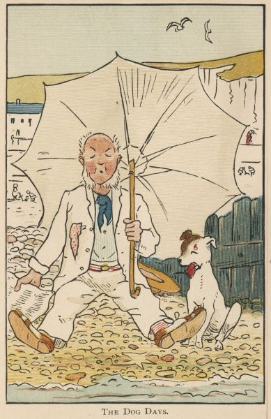 A man sits on the beach with his dog on a hot summer day, with a large white parasol to try to keep the sun off