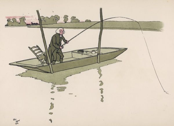 A clergyman fishes from a flat bottomed boat