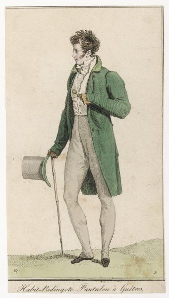 Green frock coat with velvet collar & unbuttoned cuff, short waistcoat with stand collar, white stock or cravat, Wellington pantaloons, pale grey top hat with green brim