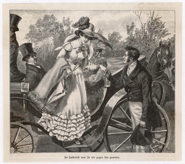 A gentleman helps a lady to descend from a carriage