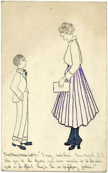 Original drawing in pen and ink showing an incredibly young boy suggesting to a (much taller) female office worker that they go to the theatre together but to keep it quiet otherwise the other girls in the office will be frightfully jealous