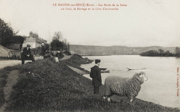 A Gentleman and a curious sheep (!) inspect the view across the River Seine at Le Manoir-sur-Seine - a wonderfully bizarre card!
