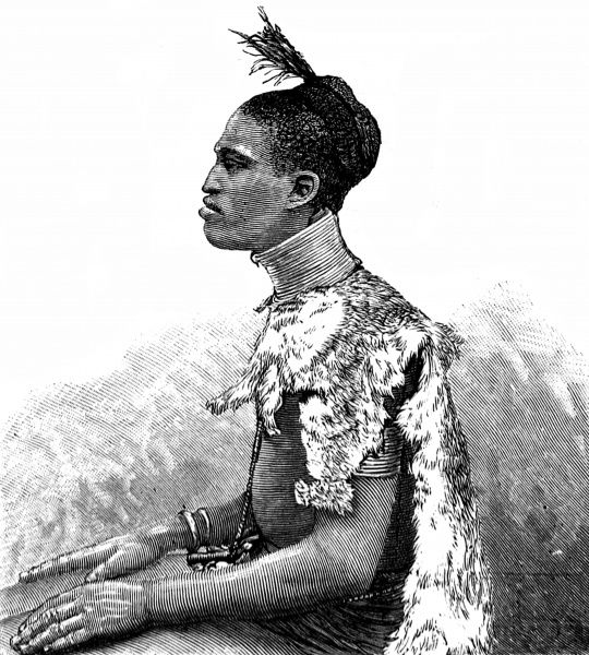 Engraving showing a member of the Shuli Tribe of Central Africa, who were found in the area ruled by Emin Pasha, the Governor of the Egyptian Equatorial Province, c.1887
