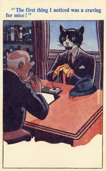 "A gentleman visits his Doctor with the distinct impression he is turning into a cat.... by the evidence on show he is correct, bolstered by his assertation that: ""The first thing I noticed was a craving for mice!"" Date: circa 1930s"