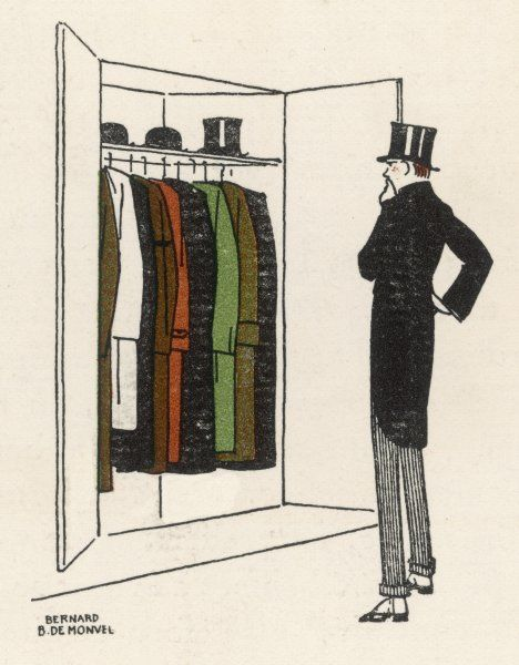A smartly-dressed man looks in his wardrobe and wonders which topcoat to wear