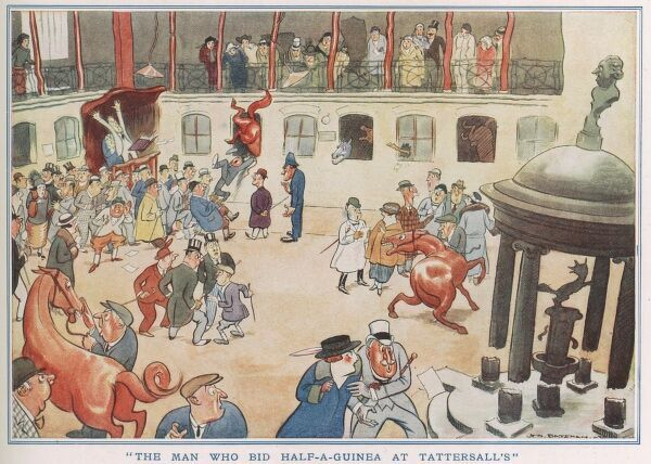 A humorous illustration showing a man who has caused havoc at the races
