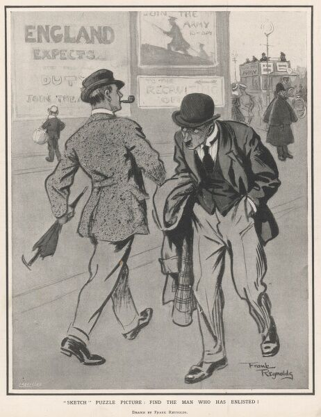 "A propagandist illustration during World War One contrasting the pride and satisfaction of the man who has enlisted to join up, with the shame of one who has not. A poster stating ""England Expects"" can be seen in the background"