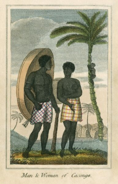 Man and Woman of Cacongo on the coast of Angola (formerly part of the Congo, Central Africa). A book of national types and costumes from the early 19th century