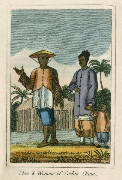 A man and woman of Cochinchina (Vietnam). A book of national types and costumes from the early 19th century