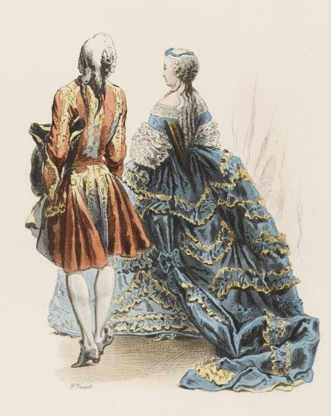 A gentleman and his wife at the court of Louis XV, seen from the rear - something Louis, of course, never saw