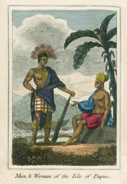 Man and Woman of Easter Island, Pacific Ocean. A book of national types and costumes from the early 19th century
