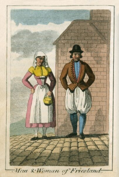 Man and Woman of Friesland (Holland). A book of national types and costumes from the early 19th century