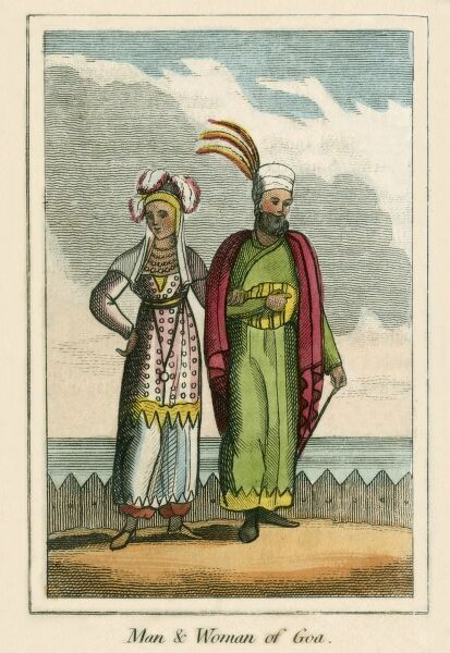 A man and Woman of Goa (India). A book of national types and costumes from the early 19th century