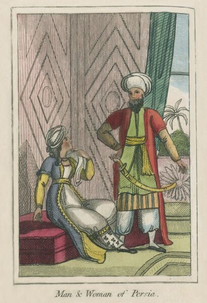 A man and Woman of Iran (Persia). A book of national types and costumes from the early 19th century