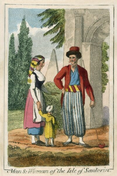 A man and woman from the Island of Santorini, Greece. A book of national types and costumes from the early 19th century