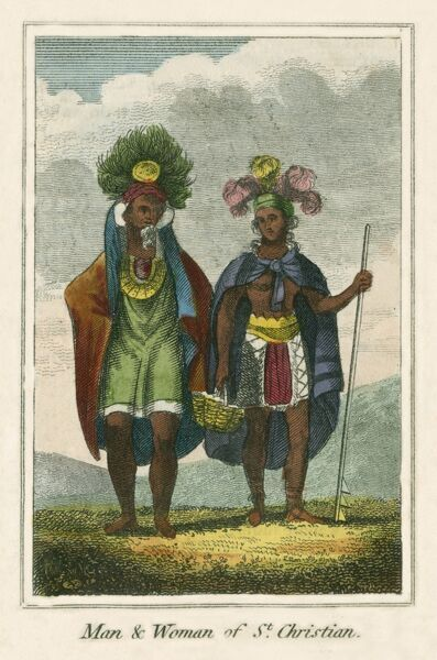Man and Woman of the Island of Tahuata (St Christian Island), the smallest of the Marquesas Islands, a group of volcanic islands in French Polynesia, in the southern Pacific Ocean. A book of national types and costumes from the early 19th century