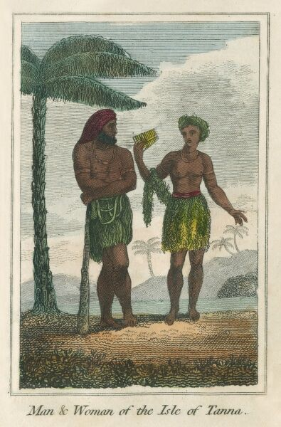 Man and Woman from Isle of Tanna, an island of Vanuatu, New Hebrides. A book of national types and costumes from the early 19th century