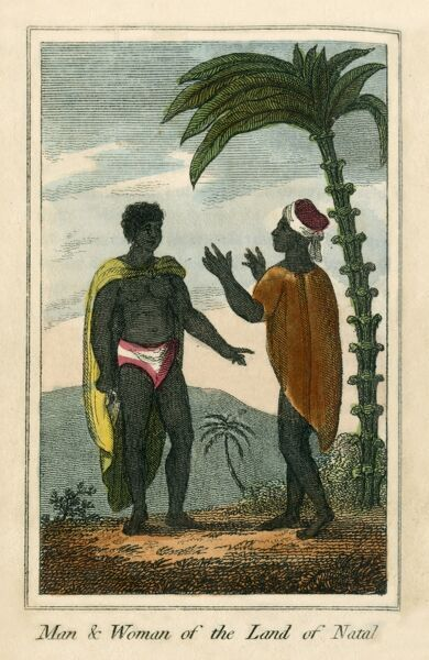 Man and Woman from the land of Natal. These people are likely Xhosa - speakers of Bantu languages living in south-east South Africa. A book of national types and costumes from the early 19th century