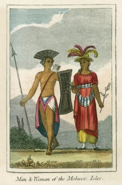 A man and woman of the Moluccas (formerly Spice Islands) - a group of islands of eastern Indonesia between Sulawesi and New Guinea. A book of national types and costumes from the early 19th century