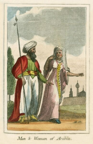 A man and Woman of Saudi Arabia. A book of national types and costumes from the early 19th century