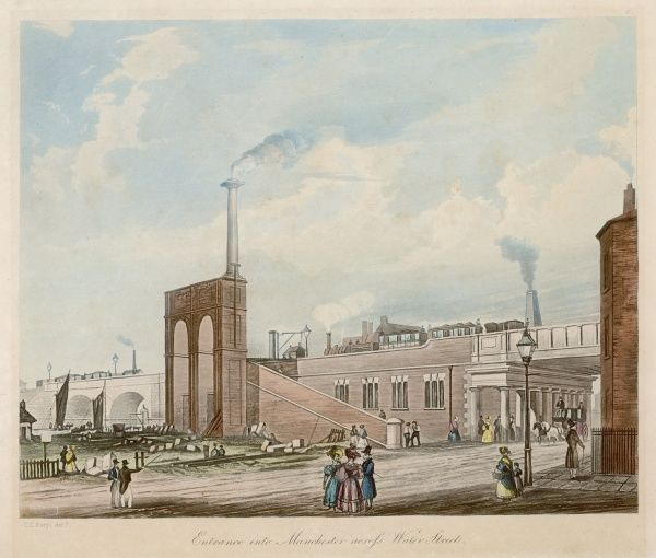 Entrance into Manchester across Water Street. This is an interesting variant on a well known engraving, with added factory chimneys and technological advances