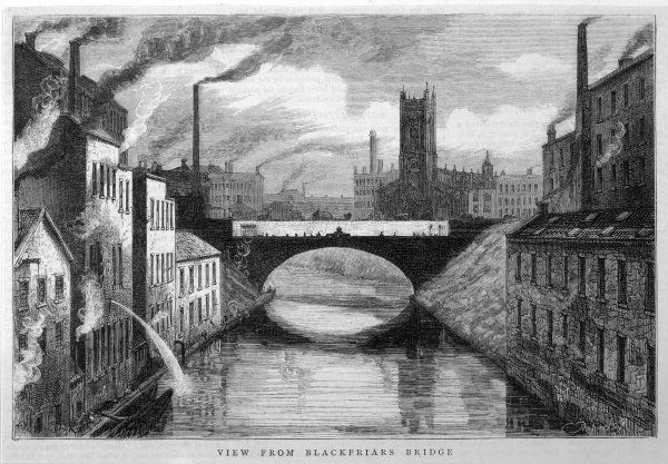 Industrial Manchester, showing the Irwell River from Blackfriars Bridge
