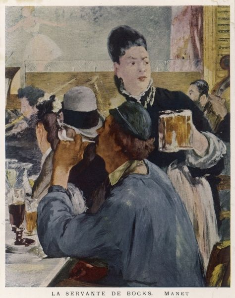 'La servante de bocks' A Parisian waitress brings glasses of beer to seated customers at the theatre