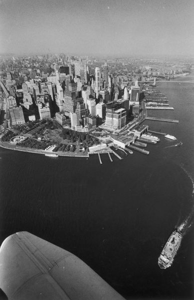 Aerial view of Battery Park and Manhattan