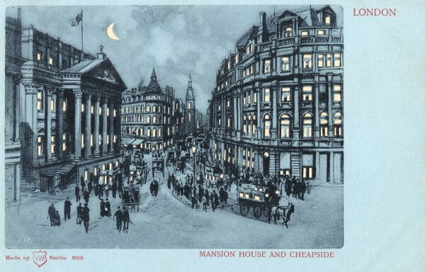 Mansion House and Cheapside, London - a hold-to-light postcard Date: circa 1901