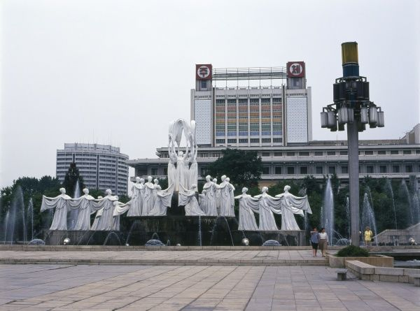 External view of the Mansudae Art Theatre in the centre of Pyongyang, capital of North Korea