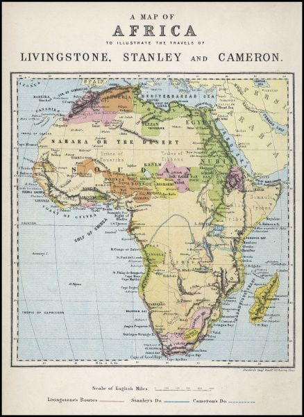 19th Century Africa Map.Map Of Africa Illustrating Travels Of Explorers A Map Of Africa