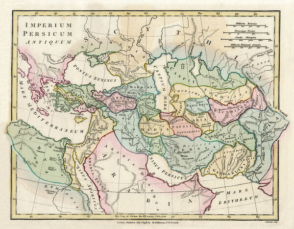 Map of the Ancient Persian Empire, encompassing Greece to the north ...