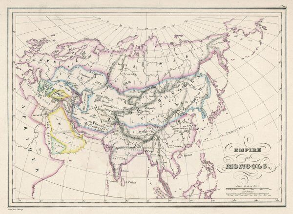 The Mongol Empire at its greatest extent : commenced by Genghis Khan in the 13th century, it was enlarged by Kublai Khan but broke up after about 1380