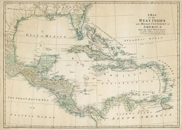 The Caribbean, with the West Indies, and the coasts of the United States and the Spanish possessions which later became Texas and Mexico, and the northern coast of S. America