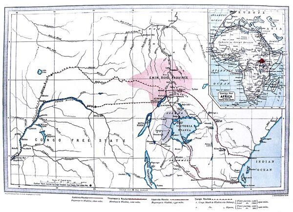 Engraved map showing Central Africa and the predicted routes of the Emin Pasha Relief Expedition, 1887. Emin Pasha (1840-1892), the German doctor, explorer, linguist and Governor of the Egyptian Equatorial Province had retreated to Wadelai, near Lake Albert