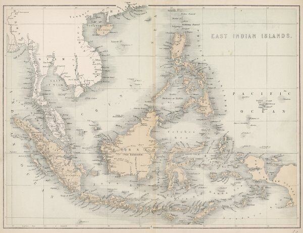 Map of the East India Islands, including Borneo, the Celebes, Sumatra, Papua New Guinea, the Philippines