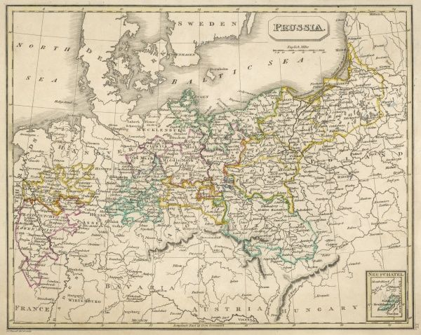 Map of Germany (Prussia) showing the various nation states
