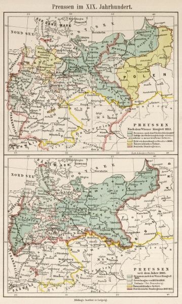 The growth of Prussia between 1815 and 1866