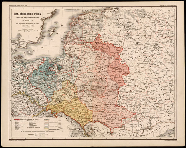 A German map of Poland and its neighbours in the late 18th century