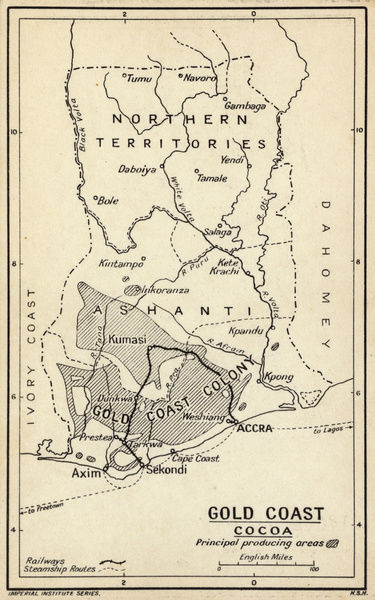 Map Gold Coast Colony Ghana West Africa With The Main Cocoa